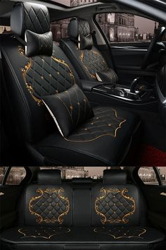Luxury Pattern with Classic Grid. Black Design With Beautiful Gold Lines Decoration Universal Five Car Seat Cover #Caraccessories Luxury