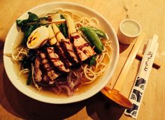 BBQ Pork Ramen with Pak Choy, red onion, suger snap, baby corn, bean sprouts & egg. Wagamama style.
