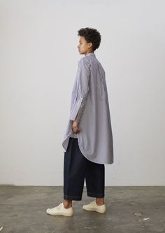 Vico Shirt Dress In Navy Stripe - Studio Nicholson