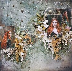 """Olya Kravets: Layout """"Soul of the queen"""" for 49 and Market with Video Tutorial Scrapbook Blog, Scrapbook Albums, Mixed Media Scrapbooking, Scrapbooking Layouts, Mixed Media Tutorials, Wedding Scrapbook, Creepy Cute, Altered Art, Altered Canvas"""