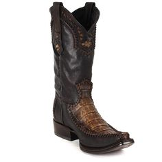 Cuadra Men's Western Cowboy Boots Genuine crocodile leather Traditional hand-painted boot with laser-cut leather and hand-stitched details Leather: Genuine Fuscus Belly Color: Stone Honey, Stone Sand