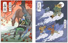 Xilogravuras do ilustrador norte-americano Jed Henry, que mistura a tradição do ukiyo-e com super-heróis podem ser vistas até 12 de abril no Joh Mabe Espaço Arte (Foto: Divulgação)