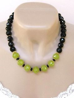 This elegant lime green quartz and black onyx beaded necklace is quite an eye catcher! The beautiful, faceted, quartz beads are used as the focal point of the handmade necklace and contrast so well w Bead Jewellery, Beaded Jewelry, Jewelery, Jewelry Necklaces, Bracelets, Beaded Necklace Patterns, Jewelry Patterns, Necklace Designs, Homemade Necklaces