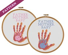 Personalized Text Handprints, Baby with Father & Mother Cross Stitch Pattern, Custom, Instant PDF Download