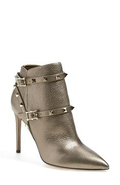Valentino 'Rockstud' Pointy Toe Calfskin Leather Bootie (Women) available at #Nordstrom