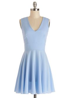 Sunny Skies Ahead Dress. You feel as bright and cheery as a cloudless day in this V-neck dress! #blue #modcloth