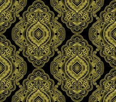 Metallic Lace by Dover Hill Studio for Benartex - Medallion Metal - Lace BlackGold