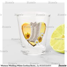 Shop Western Wedding White Cowboy Boots Flowers Heart Shot Glass created by RODEODAYS.