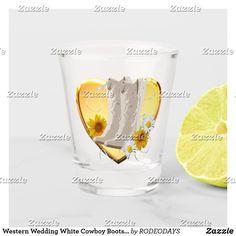 Shop Western Wedding White Cowboy Boots Flowers Heart Shot Glass created by RODEODAYS. White Cowboy Boots, Western Weddings, Business Events, Drinking Water, Shot Glass, Westerns, Digital Prints, Wedding Black, Heart