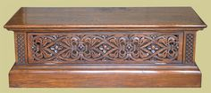 Oak stand for flat screen or plasma TV, with Elizabethan style strapwork hand carved panels to the front and sides and deeply moulded plinth and top edging. Tv Cupboard, Tv Stand Cabinet, Cupboards, Hope Chest, Hand Carved, Flat Screen, Furniture Design, Chrome, Carving