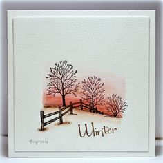 Rapport från ett skrivbord. So simple, so effective. Great combination of watercoloured background and Serendipity Winter Fenceline stamp created by Birgit.