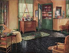 Published in the Pictorial Review in 1930. This linoleum ad features the painted builtin cabinetry, linoleum floor, and traditional furnishings that were much in favor during the late 1920s and 1930s.