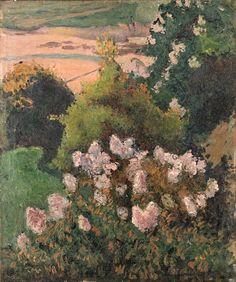 BERNARD Emile,1886 - Paysage Saint-Briac -    « Le tout pousse à l'aise pêle-mêle, herbes, fleurs ; ainsi le soir quand tout s'endort, la touffe de l'arbre est vue sous le ciel, comme des nuages, des senteurs délicieuses émanent de ces plaines immenses et embaument la vallée. » (Emile BERNARD à ses parents, Ribay, 28 avril 1886)
