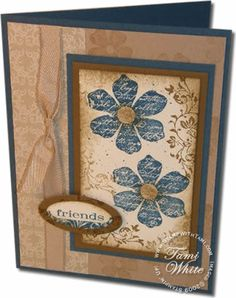 Love the layout and colour combination on this card.  Stampin Up - Vintage vogue (retired stamp)