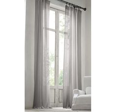 RH Modern's Stonewashed Sheer Linen Drapery:Airy, lightweight linen is stonewashed to give it a relaxed softness and graceful fluidity. The sheer, unlined fabric softly filters light. Sheer Linen Curtains, Drapes And Blinds, Velvet Curtains, Drapes Curtains, Drapery, Silk Drapes, Living Room Drapes, Beautiful Curtains, Custom Drapes