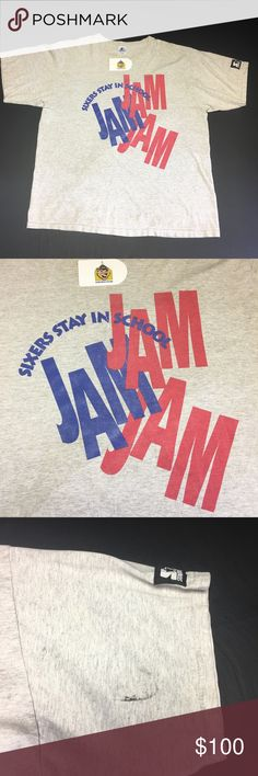 Vintage Sixers Stay in School Jam Starter Teeshirt Rare 80's Vintage Philadelphia Sixers Stay in School Jam Men's XL Teeshirt. Classic Teeshirt from the Days that Charles Barkley played for the Sixers in the 80's. This event was ran by Team trainer at the time, Pat Croce, who later became team President during Iversons Tenure. Event was sponsored by Philly Radio Station Power 99 FM. Shirt is preowned and in good condition with minor flaw on sleeve as shown in picture. Super Rare Teeshirt…