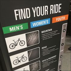 Dick's Find Your Ride Bicycle Guide Display – Fixtures Close Up Bicycles, Finding Yourself, Retail, Display, Floor Space, Billboard, Bike, Sleeve, Bicycle