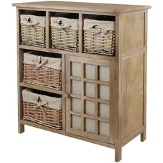 Hartleys Brown 5 Drawer Wicker Basket Storage Unit Shabby Chic Dresser Sideboard