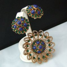 HAR Vtg Brooch Earrings Jewelry Set Rhinestone Blue Green Signed #HAR #VintageSET