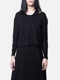 OAK cropped crew sweater black