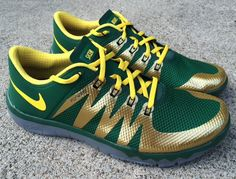 "WOAH. Green and gold Nike tennis shoes, complete with ""Sic 'Em Bears"" on the tongues. You can custom order these at NikeID.com!"