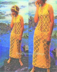 Vintage Crochet Pattern Womens Boho Lace Up Maxi or Mini Dress Beach Dresses, Cute Dresses, Dress Beach, Wedding Dresses, Long Beach Cover Up, Bodycon Outfits, Crochet Lace Dress, Lace Maxi, Maxi Styles
