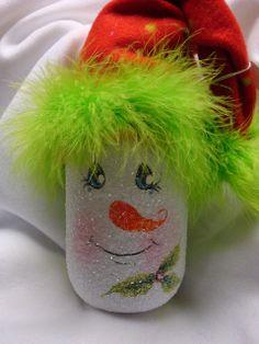 hand painted Snowman mason jars ~ cute idea!