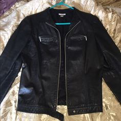 Leather shell lining jacket Leather shell lining jacket. Size large has been used a bit still in good condition. If you have any questions please ask. Halogen Jackets & Coats