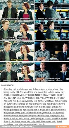 Natasha Romanoff and Steve Rogers = basically siblings who like to pick on each other