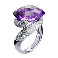 18K White Gold RKhordipour Amethyst & Diamond Ring by DivaDiamonds.net#
