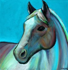 """""""Coloured Horse"""" acrylic painting on canvas, by artist Alison Newth, from British Columbia, Canada."""