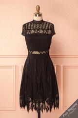 Carla-Nella Black Lace A-Line Cocktail Dress | Boutique 1861