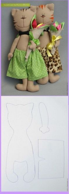 I Love Crafts: Kittens with Molds Animal Sewing Patterns, Stuffed Animal Patterns, Doll Patterns, Softie Pattern, Cat Pattern, Cat Crafts, Doll Crafts, Diy Teddy Bear, Fabric Animals