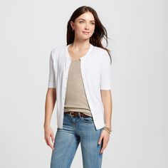 Women's Short Sleeve Crewneck Jersey Cardigan White Xxl - Merona