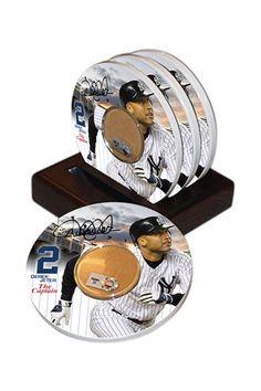"Unique Sports Memorabilia  Derek Jeter ""The Captain"" Coasters with Game Used Dirt - Set of 4  $30.00"