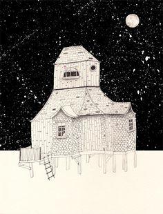 illustration. Haunted house birthday party.