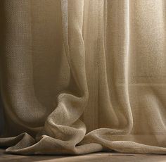 Open Weave Sheer Linen Drapery | Drapery | Restoration Hardware.  Living room?  Chocolate?