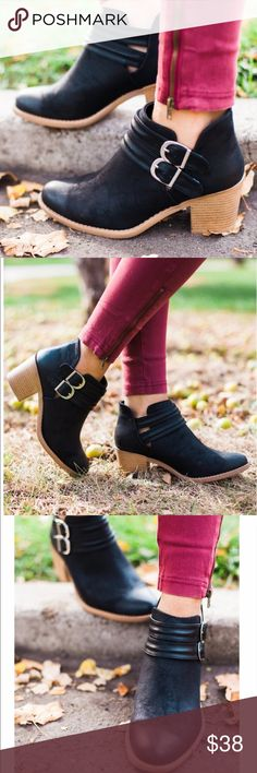 "Black Double buckle stacked bootie Black Double buckle stacked bootie.    Black bootie with double strap featuring gold buckle closure. Exposed ankle cutouts. 2.5"" heel. Shoes Ankle Boots & Booties"