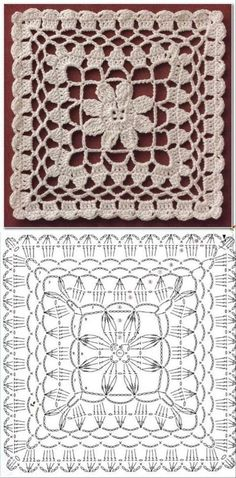 24 crochet square patterns and graphics Crochet Motif Patterns, Crochet Blocks, Granny Square Crochet Pattern, Crochet Diagram, Crochet Chart, Crochet Squares, Crochet Designs, Crochet Stitches, Knitting Patterns