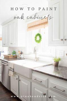 Ikea farmhouse sink - How to Paint Oak Cabinets and Hide the Grain – Ikea farmhouse sink Oak Kitchen Cabinets, Painting Kitchen Cabinets, Kitchen Paint, Ikea Kitchen, Kitchen Redo, Wood Cabinets, Kitchen Ideas, Kitchen Designs, Kitchen Sinks