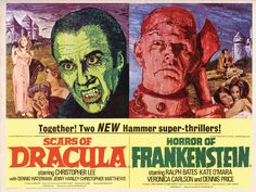 Scars of Dracula/Horror of Frankenstein by Mike Vaughan Framed Vintage Advertisement Magnolia Box Size: Extra Large Horror Movie Posters, Film Posters, Horror Movies, Horror Art, Frankenstein, Dracula, Hammer Horror Films, Hammer Films, Hammer Movie