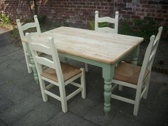 5ft solid pine farmhouse table with 4 ladder back chairs finished in tapestry green & cream