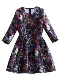 Black Floral Print Long Sleeve Round Collar Dress | Choies
