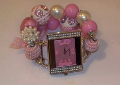 Pink and White Chunky Beaded Watch Band and Pink Face -