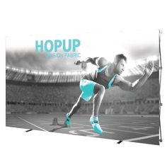The Hopup 14ft tension fabric display is simple, versatile and can be set up in seconds. Hopups feature a lightweight, durable frame available in both curved and straight sizes. Simply expand the frame and you have an exhibit.