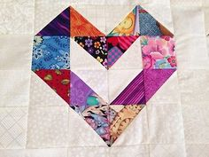 Scrappy Love Hearts Quilt Top made in USA cotton Heart Quilt Pattern, Scrap Quilt Patterns, Heart Patterns, Half Square Triangle Quilts, Square Quilt, Small Quilts, Mini Quilts, Patch Quilt, Quilt Blocks