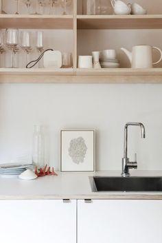 plywood open kitchen shelves.