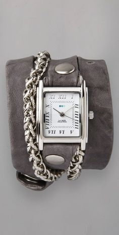 la mer collections.. silver motor chain wrap watch