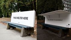 Vancouver continues to be awesome. In response to several cities like London installing spikes on streets to deter homeless people from seeking shelter there, a Vancouver organization is using city benches to promote compassion and offer assistance to homeless.
