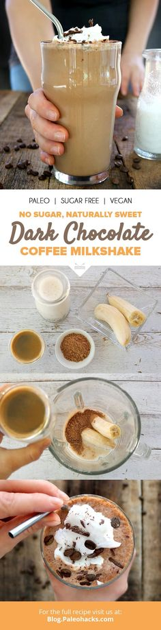 This decadent coffee milkshake combines the richness of coffee with real cacao for an energy-boosting chocolate drink without the sugar crash Get the recipe here paleoco Click the image or link for more smoothie information. Healthy Smoothies, Healthy Drinks, Healthy Recipes, Detox Drinks, Simple Smoothies, Delicious Recipes, Paleo Dessert, Dessert Recipes, Breakfast Recipes